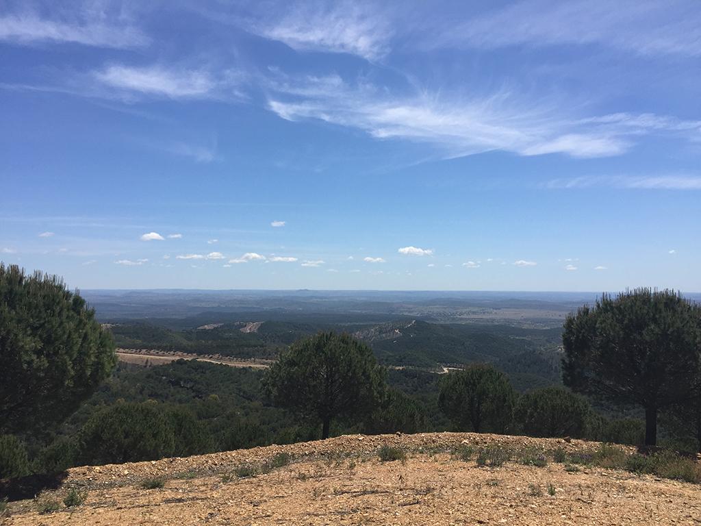 Vistas de la comarca del Andévalo desde la Ruta