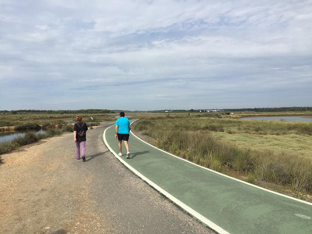 Caminantes disfrutando de las Marismas del Odiel